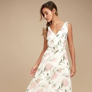White Floral Maxi Dress Lulus - Large